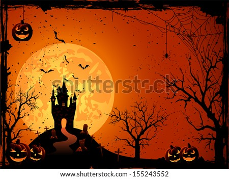 Halloween night, black castle on the moon background, illustration.