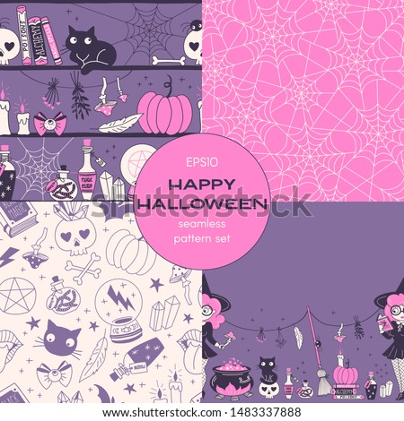 Halloween night cartoon vector seamless pattern set. Witch reading incantation, spider web backgrounds pack. Enchantment, alchemy, witchy stuff decorative textile, wallpaper, wrapping paper design