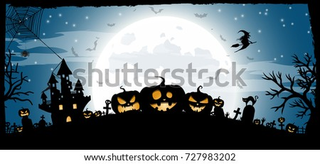 Halloween Night Concept Vector Banner