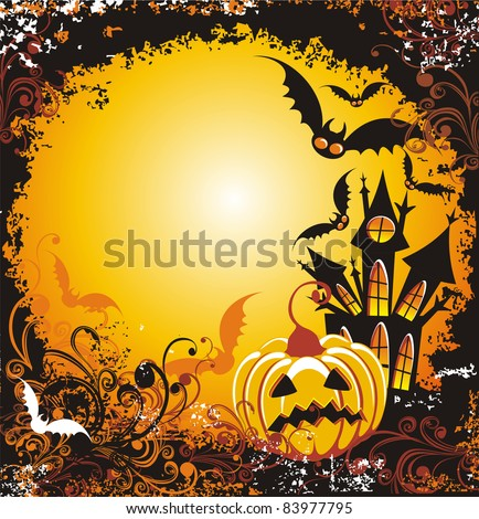 Halloween night. Grungy Halloween background with haunted house pumpkin and bats