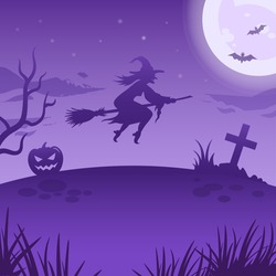 Halloween night illustration. Big glowing moon, flying witch and night spooky landscape. Vector spooky illustration with witch, pumpkin lantern and full moon. Halloween background, poster, decoration.