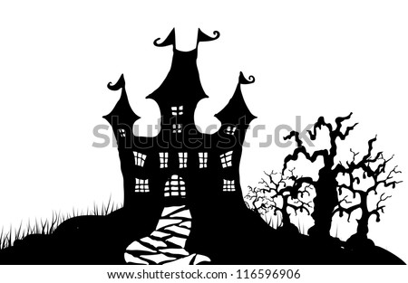 Halloween night illustration in editable vector format