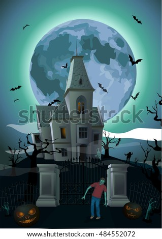halloween night  moon beautiful