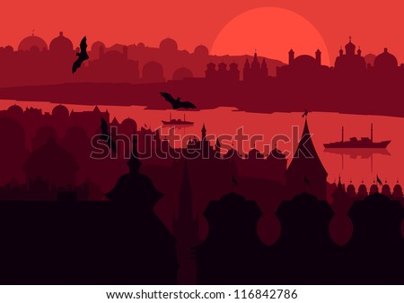 Halloween night old scary city town landscape with flying bats and moon illustration background vector