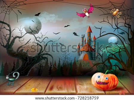 Halloween night on the background of the full moon and dark castle with pumpkin, bat, skeleton. Vector