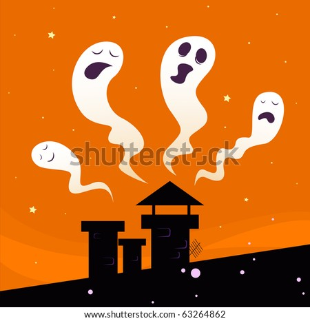 Halloween night: Spooky ghost characters. Vector illustration of halloween ghosts.