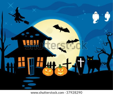 Halloween night theme dark house full moon and witch.