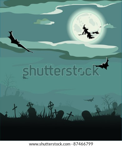 Halloween night, vector illustration (bat,grave, gravestone, graveyard, moon, house, tree, witch)