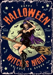 Halloween night vintage colorful poster with pretty witch in hat and cape flying on broom on moon and flying bats background vector illustration