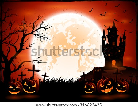 Halloween night with pumpkins and dark castle on Moon background, illustration.