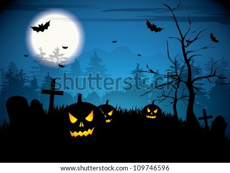 Halloween night with pumpkins on graveyard