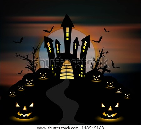 Halloween night with pumpkins party vector background