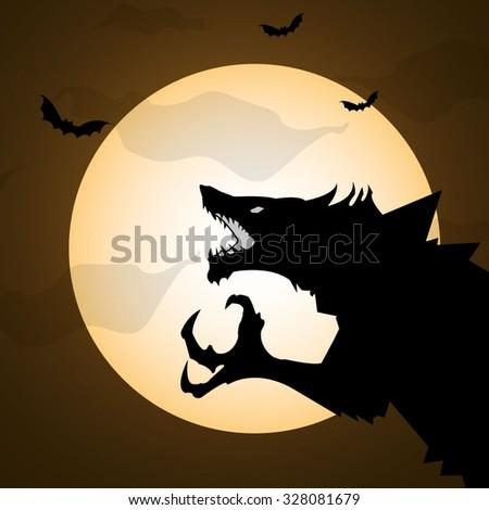halloween night wolf at moon