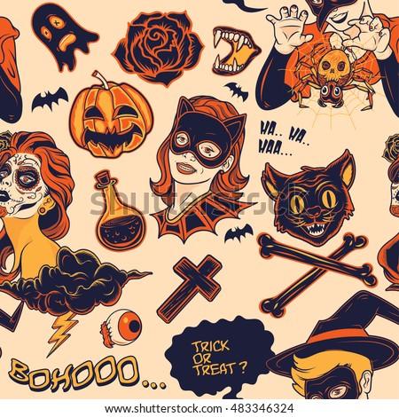 Halloween objects Seamless Pattern