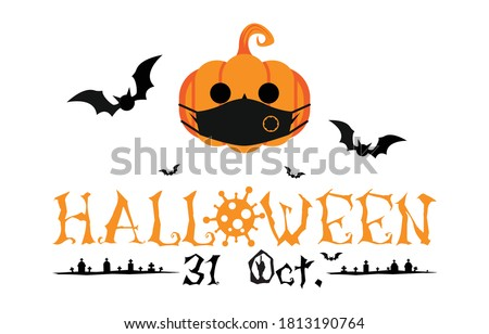 Halloween 31 Oct greetings Isolated on white background. Jack O Lantern pumpkin wearing medical face mask with silhouette bats. Halloween festival with COVID-19 virus pandemic prevention concept.