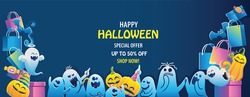 halloween on sale. Buy and sell mobile applications. Happy Halloween banner. Halloween backgrounds with night in the cemetery party. Space place advertise you.