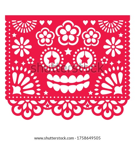 Halloween Papel Picado design with La Catrina skull, Mexican paper cut out pattern - Dia de Los Muertos, Day of the Dead celebration. Papel Picado black geometric decoration set with female Foto stock ©