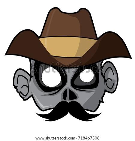 halloween paper mask   cowboy