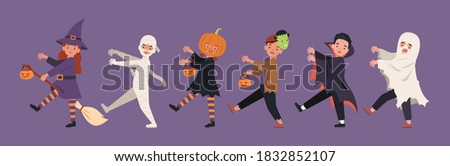 Halloween parade, children in monster costume walking together. Vector illustration in a flat style