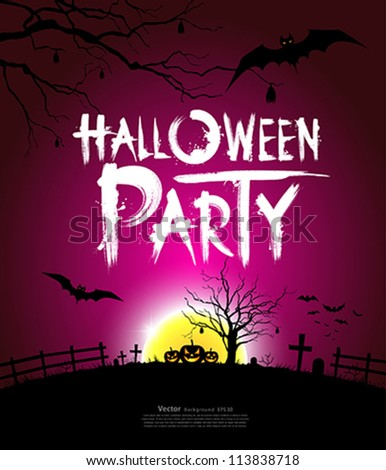 Halloween party at night background, vector illustration