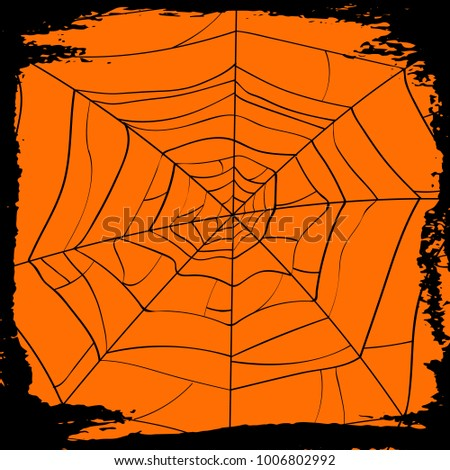 Halloween party backdrop with creepy cobweb. Realistic design element for scary holiday poster decoration. Abstract spider cobweb silhouette on orange background vector illustration.