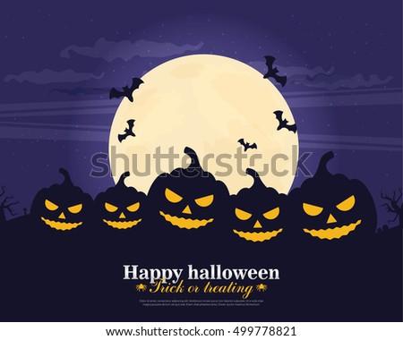 Halloween Party Background. Flat vector.