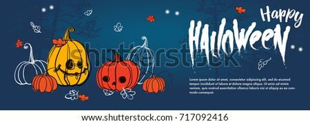 Halloween Party Background with pumpkins, forest and autumn leaves.