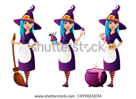 Halloween party. Beautiful lady witch, set of three poses. Cute lady cartoon character holds broomstick, holds cake and stands near cauldron. Vector illustration
