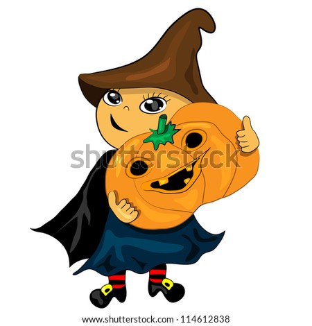halloween party boy holding pumpkin. jack lantern illustration