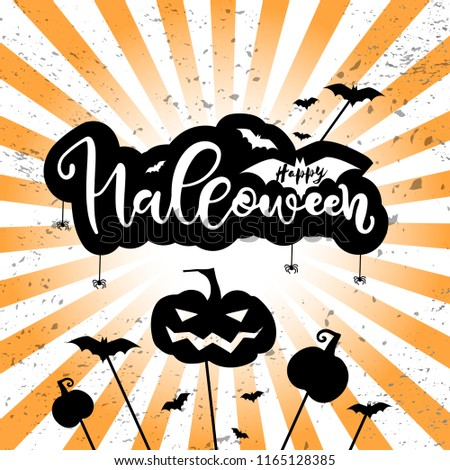 Halloween party card, banner, poster. With pumppkin, bats, grave, tombstone. Flat lay style