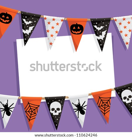 halloween party card with bunting and space for text