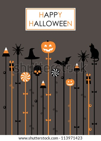halloween party celebration background in orange, white and black