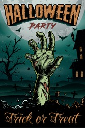Halloween party colorful vintage poster with zombie hand on cemetery and haunted house background vector illustration