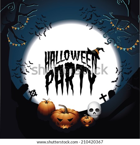 halloween party background design illustration download free