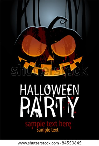 Halloween Party Design template, with pumpkin and place for text.