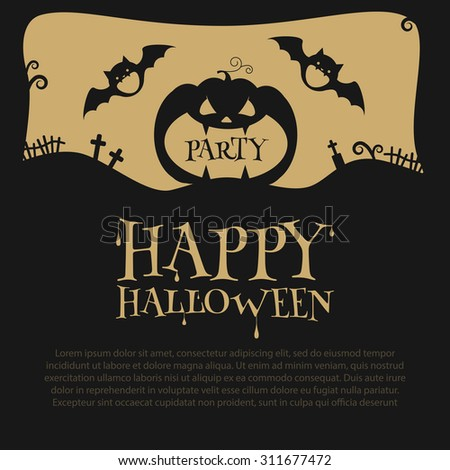 Halloween Party Design template, with pumpkin, bats, crosses and place for text. Vector illustration
