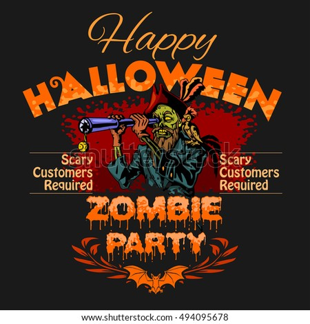 Halloween Party Design template with zombie and place for text.