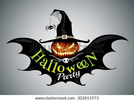 Halloween party,drawn Halloween symbols pumpkin,logo design, vector illustration