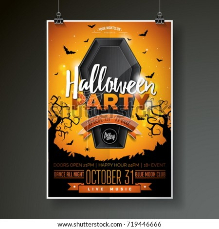 Halloween Party flyer vector illustration with black coffin on o