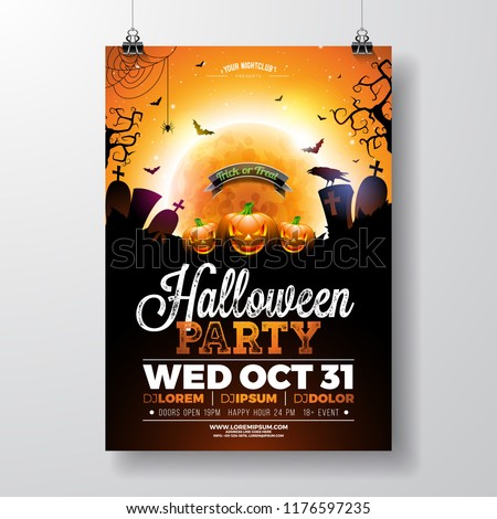 Halloween Party flyer vector illustration with scary faced pumpkin on mysterious moon background. Holiday design template with crow, spiders, cemetery and flying bats for party invitation, greeting - Shutterstock ID 1176597235