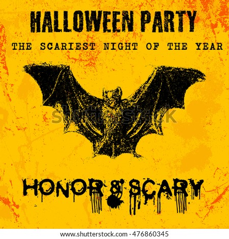 Halloween party greeting card in grunge style, distressed texture vector illustration