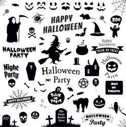 Halloween Party Icons Set. Trick or treat.