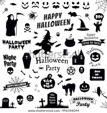 Stock Photo Halloween Party Icons Set. Trick or treat.