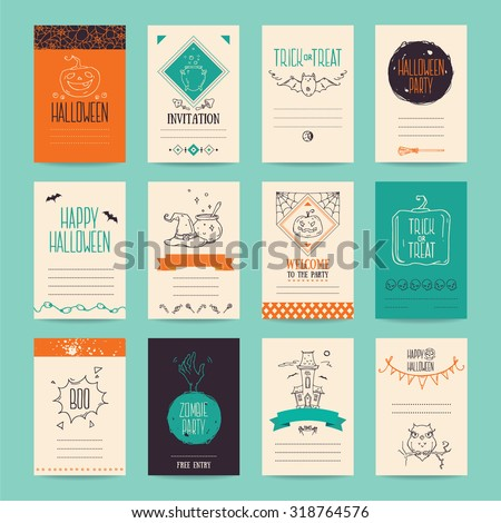 Halloween party invitation and greeting card, flyer, banner, poster templates. Hand drawn traditional symbols, cute design elements, handwritten ink lettering. Orange and turquoise vector collection.