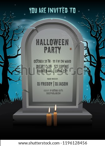 Halloween party invitation card with old gravestone at night with template text in cemetery. ストックフォト ©