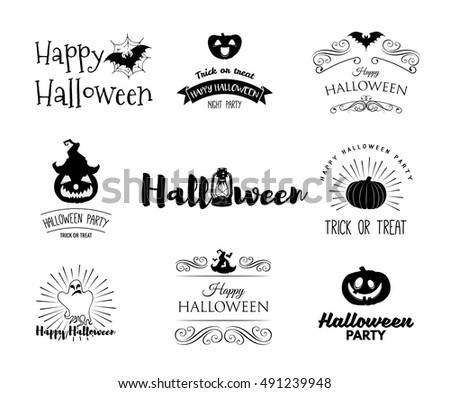 Halloween party invitation label templates with holiday symbols - witch hat, bat, pumpkin, ghost, web. Halloween. Badges set Use for party posters, flyers, cards, invitations, design. Happy Halloween.