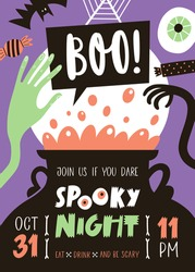Halloween party invitation with handwritten text and traditional symbols.