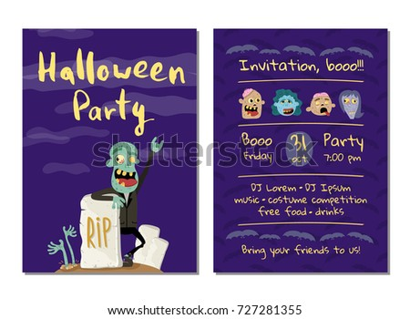 Halloween party invitation with happy zombie near rip gravestone. Halloween event advertising with funny undead, festive funny carnival poster. Walking dead characters in cemetery vector illustration