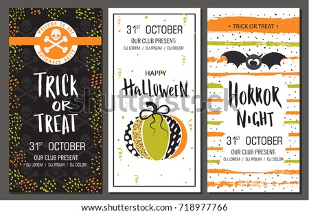 Halloween party invitations. Vertical banners set. Vector illustration. Design for holiday poster