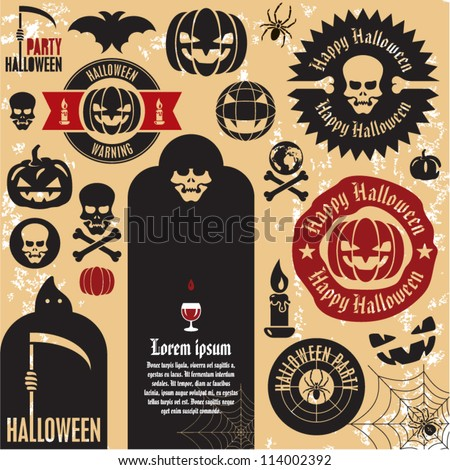 Halloween party labels and icons collection. Halloween pumpkin.